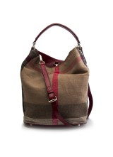 СУМКА BURBERRY MEDIUM CANVAS CHECK HOBO BAG 39457281 RED